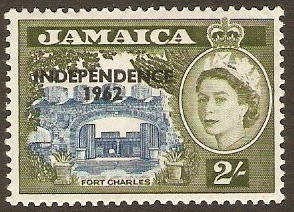 Jamaica 1962 2s Blue and bronze-green. SG189.