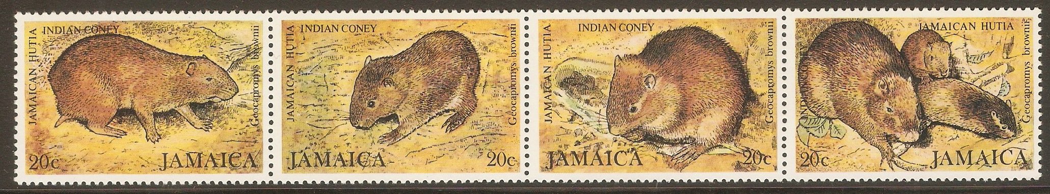 Jamaica 1981 Brown's Hutia set. SG512-SG515.