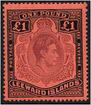 Leeward Islands 1938 �1. Brown-Purple & Black on Red Paper. S114