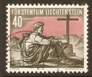 Liechtenstein 1955 40r Mountain Sports series. SG335.