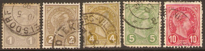 Luxembourg 1895 Definitive set. SG152-SG156.