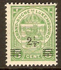 Luxembourg 1916 2½ on 5c Green. SG187.