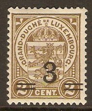Luxembourg 1916 3 on 2c Grey-brown. SG188.