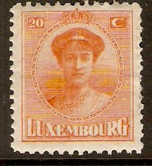 Luxembourg 1921 20c Red-orange. SG199.