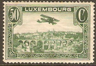 Luxembourg 50c Green - Airmail. SG296a.