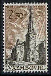Luxembourg 1962 St. Laurent's Church Stamp. SG709.