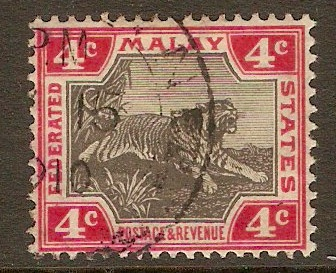 Federated Malay States 1904 4c Black and rose. SG36d.