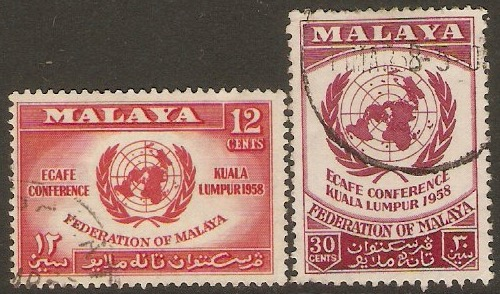 Malayan Federation 1958 UN Economic Commission set. SG6-SG7.