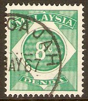 Malaysia 1966 8c Blue-green - Postage Due. SGD4.