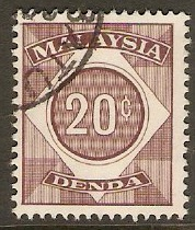 Malaysia 1966 20c Red-brown - Postage Due. SGD7.