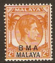 Malaya (BMA) 1945 2c Orange. SG3.