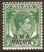 Malaya (BMA) 1945 3c Yellow-green. SG4.