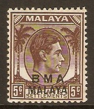 Malaya (BMA) 1945 5c Brown. SG5.