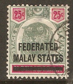 Federated Malay States 1900 25c Green and carmine. SG7.