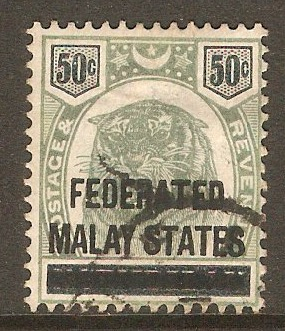 Federated Malay States 1900 50c Green and black. SG8.