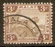 Federated Malay States 1904 3c Grey and brown. SG32.