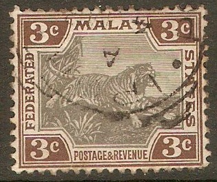 Federated Malay States 1904 3c Grey and brown. SG32. - Click Image to Close