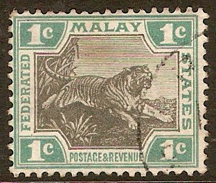 Federated Malay States 1900 1c Black and green. SG15.
