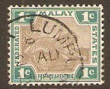 Federated Malay States 1900 1c Grey and green. SG15a.