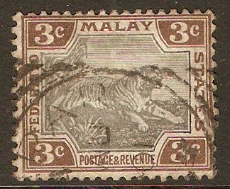 Federated Malay States 1900 3c Black and brown. SG16.