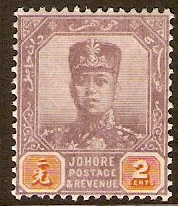 Johore 1910 2c Dull purple and orange. SG79.