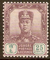Johore 1910 25c Dull purple and green. SG85.