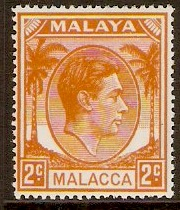 Malacca 1949 2c Orange. SG4.