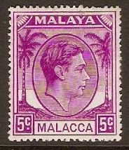 Malacca 1949 5c Bright purple. SG6a.