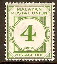 Malayan Postal Union 1936 4c Green Postage Due. SGD2.