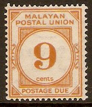 Malayan Postal Union 1945 9c Yellow-orange Postage Due. SGD11.