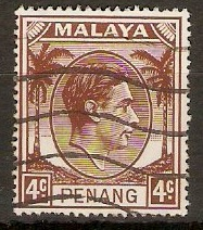 Penang 1949 4c Brown. SG6.