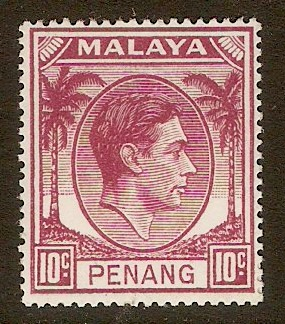 Penang 1949 10c Purple. SG11.
