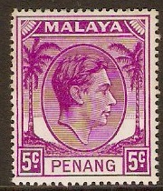 Penang 1949 5c Bright purple. SG7.
