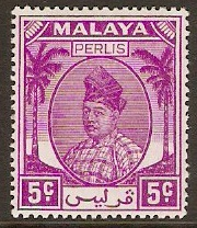 Perlis 1951 5c Bright purple. SG11.