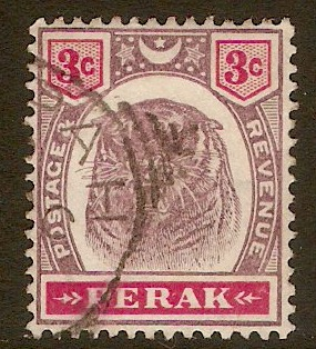 Perak 1895 3c Dull purple and carmine. SG68.