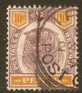 Perak 1895 10c Dull purple and orange. SG72.
