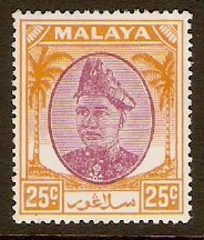 Selangor 1949 25c Purple and orange. SG103.