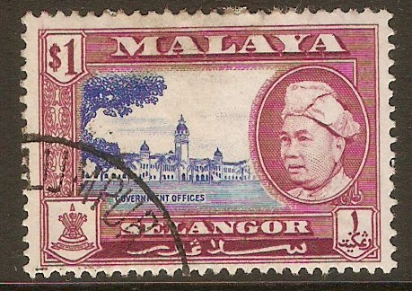 Selangor 1957 $1 Ultramarine and reddish purple. SG125.