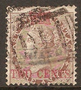 Straits Settlements 1867 2c on 1a Deep brown. SG2.