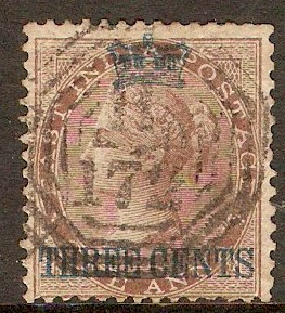 Straits Settlements 1867 3c on 1a Deep brown. SG3.