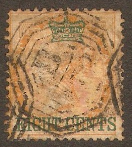 Straits Settlements 1867 8c on 2a Yellow. SG6.