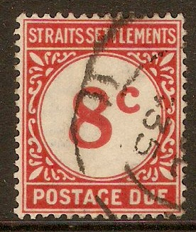 Straits Settlements 1924 8c Scarlet - Postage Due. SGD4.