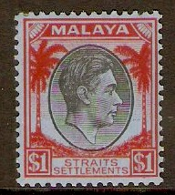 Straits Settlements 1937 $1 Black and red on blue. SG290.