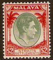 Straits Settlements 1937 $2 Green and scarlet. SG291.