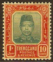 Trengganu 1910 10c. Green and red on yellow. SG9.