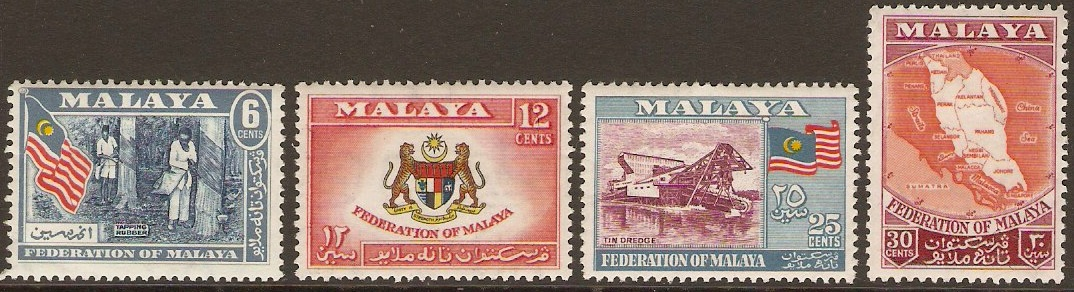 Malayan Federation 1957 Definitive Set. SG1-SG4.