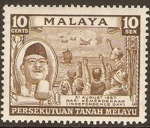 Malayan Federation 10c Bistre-brown. SG5.