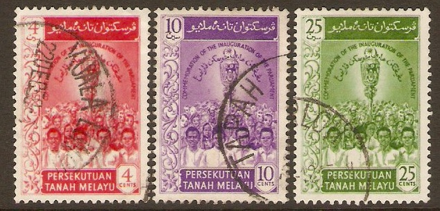 Malayan Federation 1959 Parliament Inauguration Set. SG12-SG14.