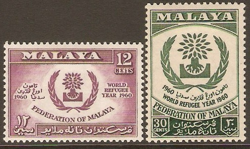 Malayan Federation 1960 World Refugee Year Set. SG15-SG16.