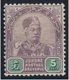Johore 1891 5c. Dull Purple and Green. SG25.